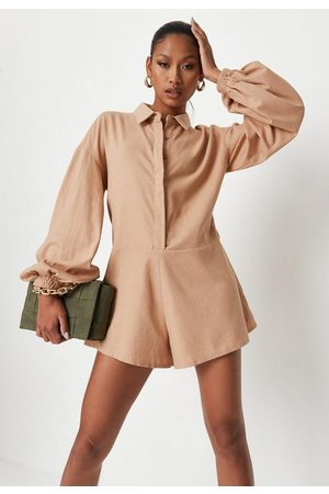 Missguided Women Jumpsuits - Camel Linen Mix Balloon Sleeve Collared Playsuit, Camel