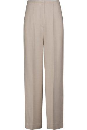 Totême High-rise wool-blend twill straight pants