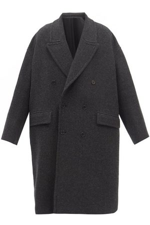 Raey Double-breasted Boiled Wool Coat - Mens - Charcoal