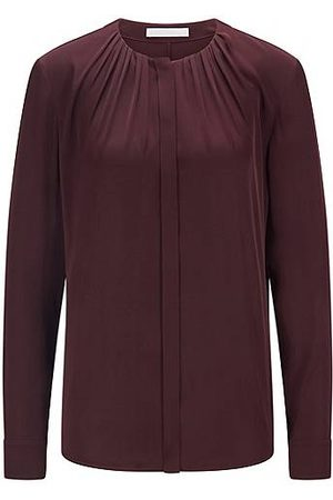 BOSS Ruched-neck blouse in stretch-silk crepe de Chine