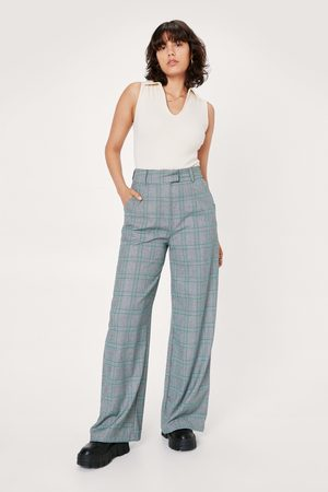 NASTY GAL Womens Check High Waist Wide Leg Trouser