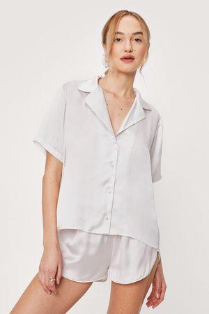 NASTY GAL Womens Satin Shirt Short Scrunchie 3 Pc Pajama Set