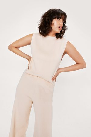 NASTY GAL Womens Knitted Ribbed jumper Vest And Trouser Set
