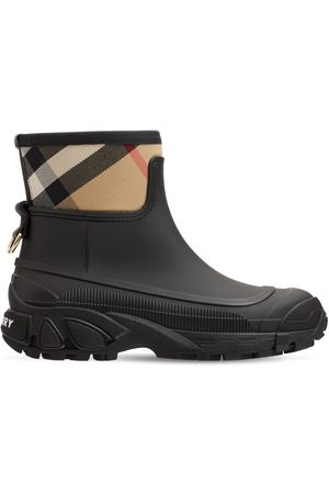 BURBERRY 20mm Ryan Leather & Check Ankle Boots