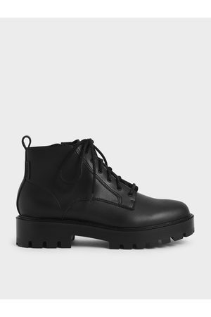CHARLES & KEITH Women Ankle Boots - Lace-Up Chunky Ankle Boots