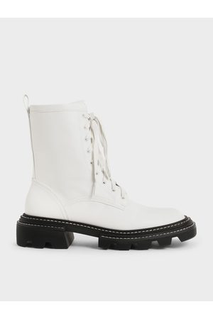 Charles & Keith Lace-Up Chunky Ankle Boots