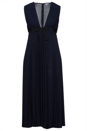 RED Valentino Woman Bow-embellished Pleated Crepe Midi Dress Navy Size 38