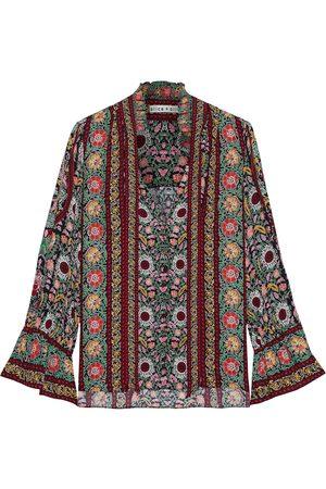 ALICE + OLIVIA Women Blouses - Woman Reilly Tie-neck Printed Crepe De Chine Blouse Multicolor Size L
