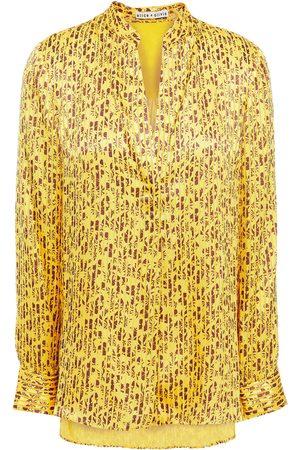 ALICE+OLIVIA Woman Amos Floral-print Burnout Satin Tunic Marigold Size L