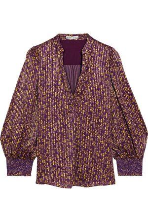 ALICE + OLIVIA Women Blouses - Woman Sheila Floral-print Burnout Satin Blouse Violet Size L