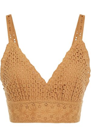 ALICE+OLIVIA Women Tank Tops - Woman Broderie Anglaise Cotton Bra Top Camel Size 0