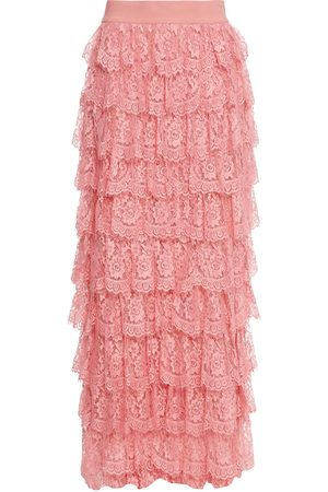 ALICE + OLIVIA Women Maxi Skirts - Woman Tiered Lace Maxi Skirt Size 0