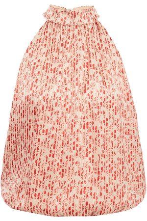 ALICE + OLIVIA Woman Maris Tie-neck Floral-print Burnout Satin Top Peach Size M