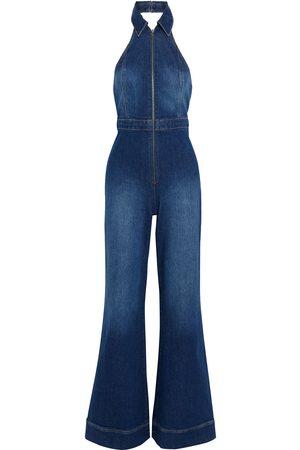 ALICE + OLIVIA Women Bootcut - Woman Gorgeous Flared Denim Halterneck Jumpsuit Dark Denim Size 24