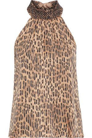 ALICE+OLIVIA Women Halterneck Tops - Woman Almira Smocked Leopard-print Burnout Satin Halterneck Top Animal Print Size L