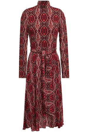 ALICE+OLIVIA Women Casual Dresses - Woman Belted Printed Jersey And Crepe De Chine Midi Dress Merlot Size 0