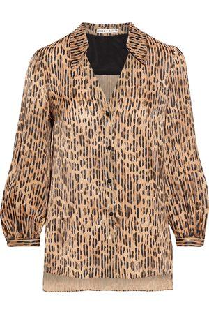 ALICE + OLIVIA Women Blouses - Woman Sheila Leopard-print Burnout Satin Blouse Animal Print Size L
