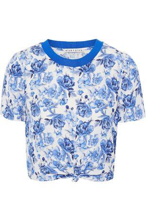 ALICE+OLIVIA Women Tops - Woman Kane Cropped Knotted Floral-print Crepe De Chine Top Size L