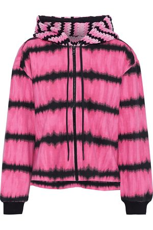 ALICE + OLIVIA Women Hoodies - Woman Mary Jane Crochet-paneled Tie-dyed French Cotton-terry Hoodie Size L