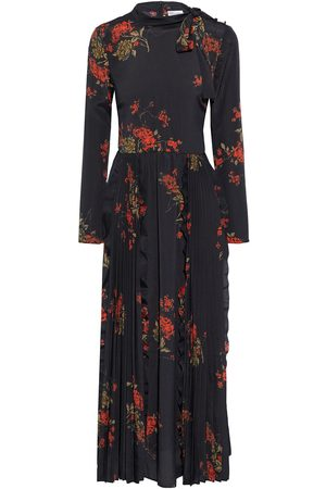 RED Valentino Women Printed Dresses - Woman Pussy-bow Pleated Floral-print Satin Maxi Dress Size 38