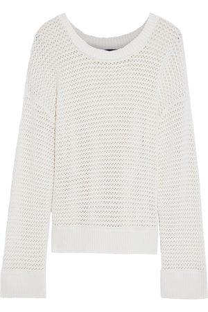 ALICE+OLIVIA Woman Dorla Open-knit Cotton-blend Sweater Off- Size L