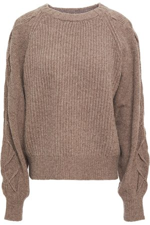 CHARLI Woman Nerea Ribbed And Cable-knit Sweater Taupe Size L