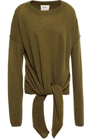 Charli Woman Christa Tie-front Cashmere Sweater Army Size L