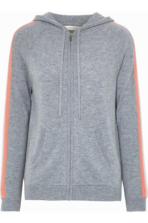 CHINTI & PARKER Woman Striped Wool And Cashmere-blend Hoodie Gray Size L