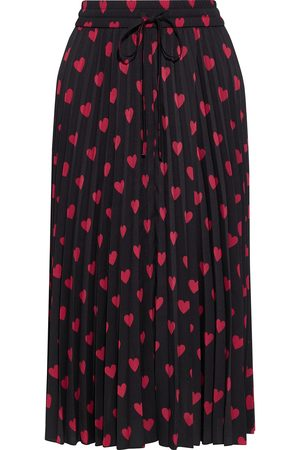 RED Valentino Woman Pleated Printed Crepe De Chine Midi Skirt Size 38