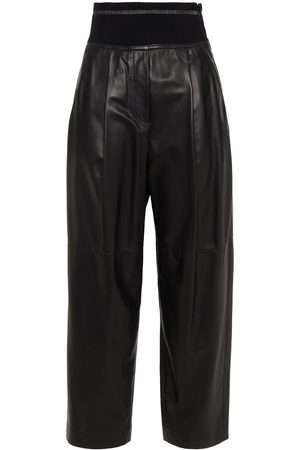 Brunello Cucinelli Woman Pleated Metallic-trimmed Leather Tapered Pants Size 34