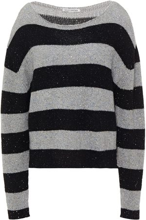 AUTUMN CASHMERE Woman Sequin-embellished Striped Cashmere-blend Sweater Size L