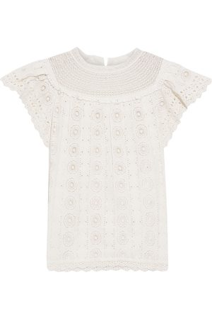 ULLA JOHNSON Woman Marin Crocheted Lace-trimmed Broderie Anglaise Cotton Top Off- Size 0