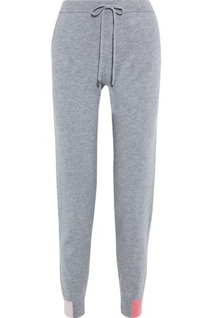 CHINTI & PARKER Woman Color-block Wool And Cashmere-blend Track Pants Gray Size L