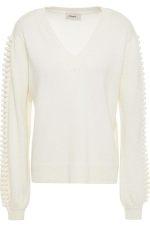 Charli Woman Pompom-trimmed Knitted Sweater Ivory Size L