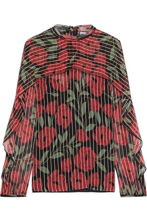RED Valentino Woman Pussy-bow Layered Floral-print Georgette Blouse Size 38