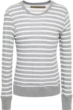 ENZA COSTA Woman Striped Cotton And Cashmere-blend Jersey Top Stone Size L