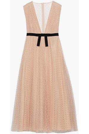REDVALENTINO Woman Bow-embellished Pleated Point D'esprit Midi Dress Blush Size 38