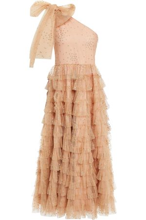 RED Valentino Woman One-shoulder Ruffled Glittered Tulle Midi Dress Neutral Size 42