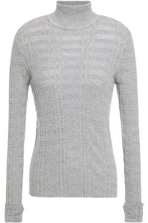 AUTUMN CASHMERE Woman Ribbed Cotton Turtleneck Sweater Gray Size L