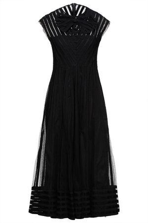 REDVALENTINO Woman Bow-embellished Gathered Tulle Midi Dress Size 38