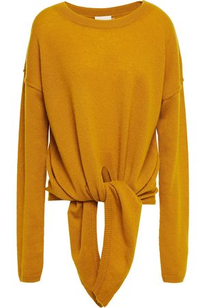 CHARLI Woman Christa Tie-front Cashmere Sweater Mustard Size L