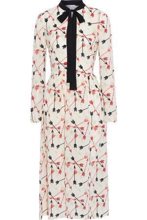 REDVALENTINO Woman Pussy-bow Printed Silk Crepe De Chine Midi Dress Cream Size 38