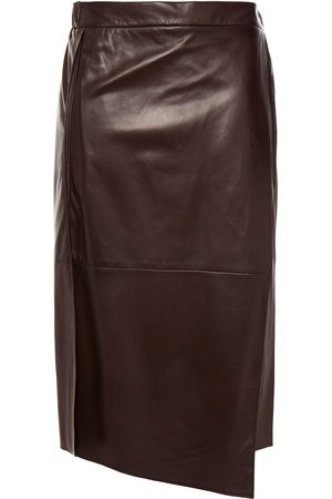 Brunello Cucinelli Woman Wrap-effect Leather Skirt Chocolate Size 42