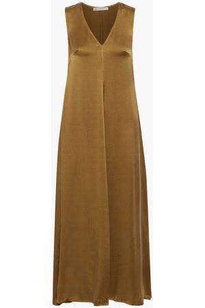 ASCENO Woman Savannah Washed-silk Maxi Dress Army Size L