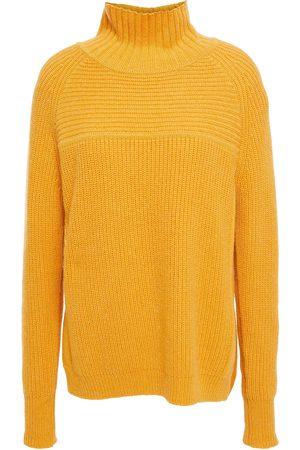 Charli Woman Oversized Mélange Ribbed-knit Turtleneck Sweater Marigold Size L