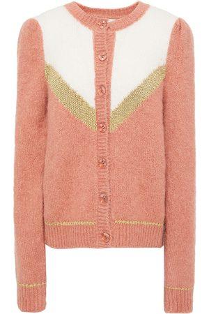 by Ti Mo Woman Color-block Alpaca-blend Cardigan Antique Rose Size L