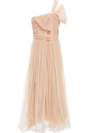 RED Valentino Woman One-shoulder Bow-embellished Point D'esprit Midi Dress Blush Size 46