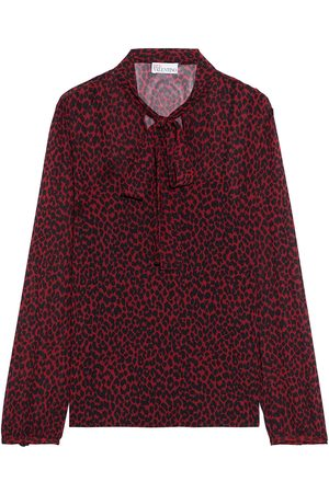 RED Valentino Woman Pussy-bow Leopard-print Chiffon Blouse Claret Size 36