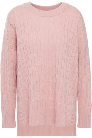 N.PEAL Woman Metallic Cable-knit Cashmere Sweater Antique Rose Size L