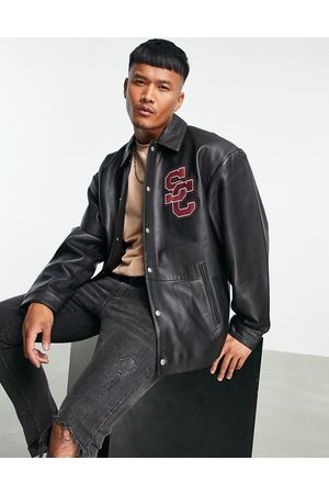 ASOS Leather varsity coach jacket with embroidery in